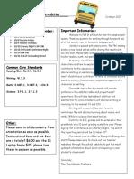 third grade newsletter oct