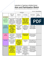 course participation and professionalism rubric - 2017