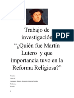 Trabajo de Investigación Martín Lutero