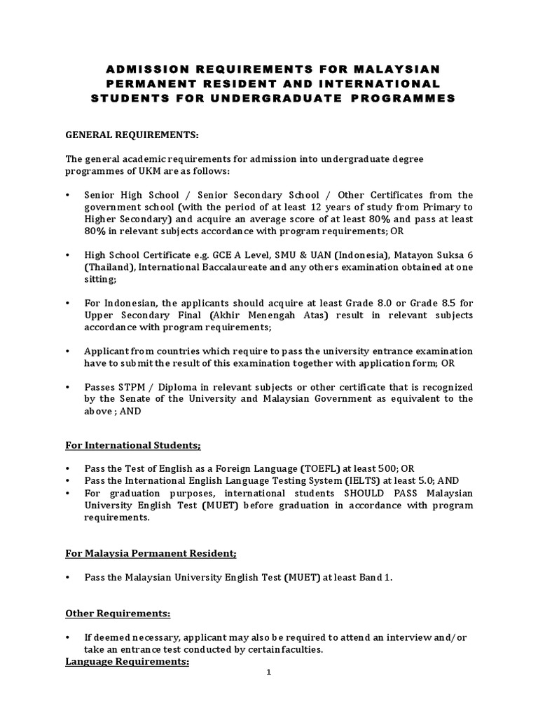 Admission requirements for malaysian permanent resident and admission requirements for malaysian permanent resident and international students for undergraduate programmes travel visa engineering 1betcityfo Choice Image