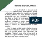 Dalil Dalil Tentang Ruqyah Al Fatihah