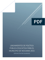 Política Municipal de Educación Del Municipio de Nocaima