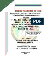 """""""El Rol Del Trabajador Social Frente a La Violencia Intrafamiliar en Los Hogares Del Barrio, """"El Valle"""" de La Cuidad de Loja"""""""