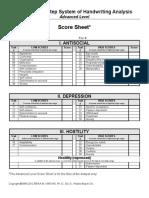 Advanced Course Score Sheet