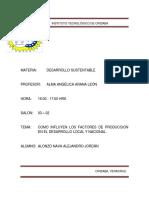 Como Influyen Los Factores de Produccion en El Desarrollo Local y Nacional.