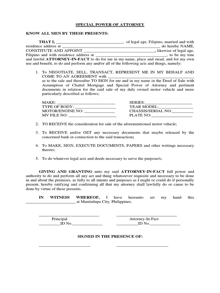 special power of attorney form philippines  Sample Power Of Attorney For Vehicle Transactions ...