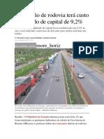 Concessão de Rodovia Terá Custo Ponderado de Capital a Partir de 2015