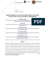 Biogeochemical Analysis in Relation to Water Quality of Wawa Dam, Rizal, Philippines