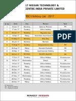 Holiday Calendar 2017