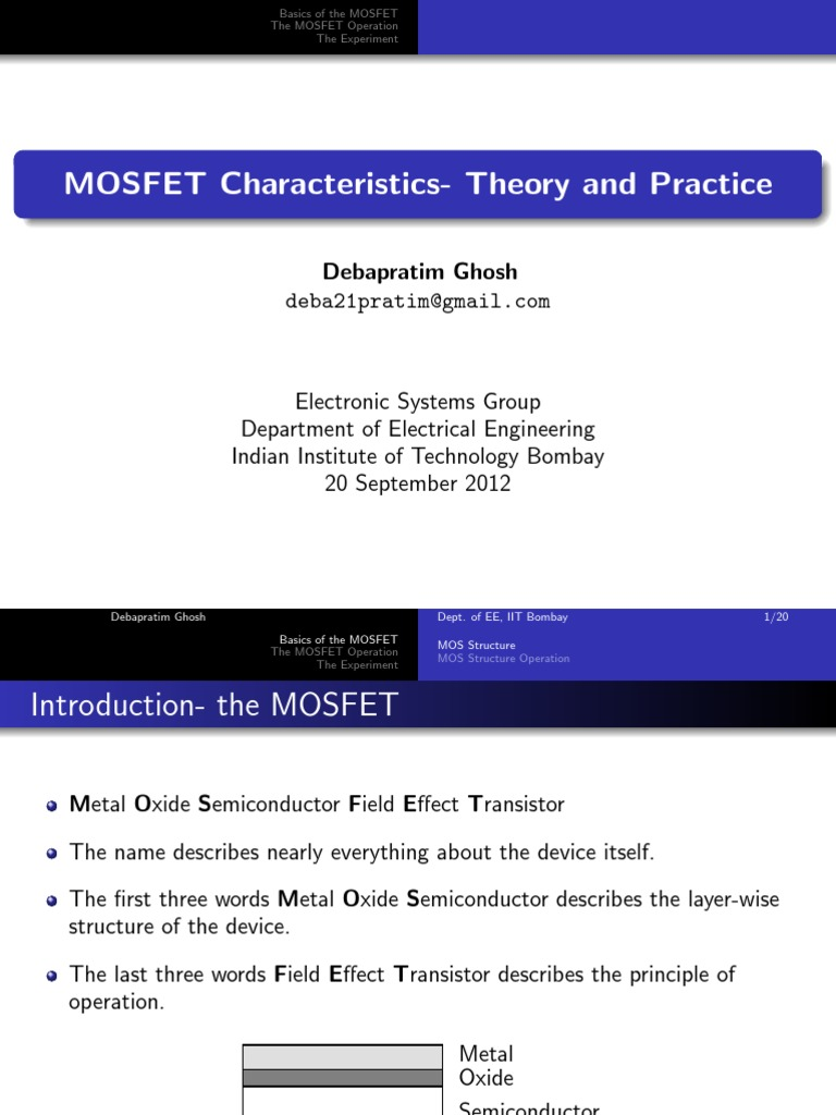 Mosfet Slides Field Effect Transistor Tutorial Circuits
