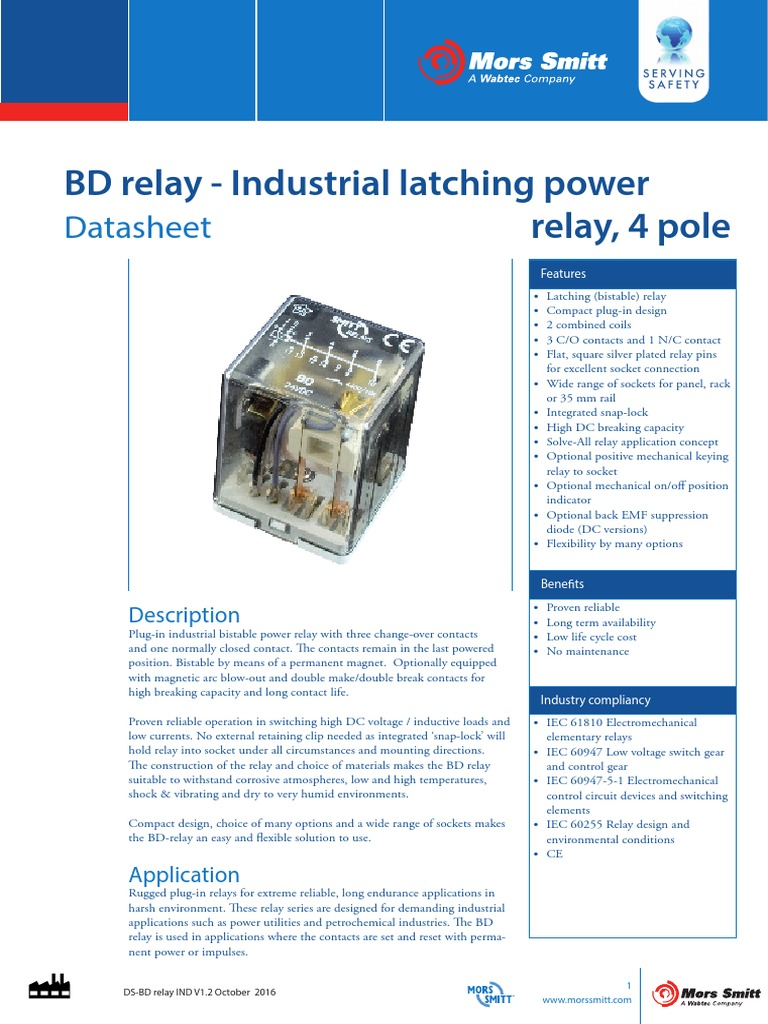 Datasheet Bd Relays Ind V12 Relay Electrical Connector 12 Volt Wiring Diagram 5 Pole On 30 Also Latching