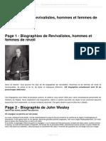 Biographies de Revivalistes Hommes Et Femmes de Reveil