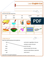 Worksheets Cooking