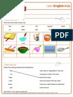 Worksheets Cooking