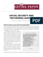 Social Secuirty and the Federal Budget
