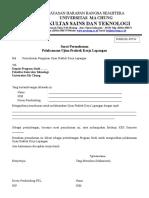 [FORM PKL-FST 04] Surat Permohonan Mahasiswa Pelaksanaan Ujian PKL