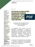 Cálculo de Linha de Vida - CÁLCULO DOS ESFORÇOS HORIZONTAIS _ VERTICAIS PARA A ESTRUTURA EM TUBO DE AÇO GALVANIZADO+ CABO DE AÇO PARA CABO GUIA - LAN - FUNDAÇÃO E OBRAS GEOTECNICAS