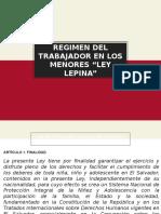 """RÉGIMEN DEL TRABAJADOR EN LOS MENORES """"LEY LEPINA"""""""