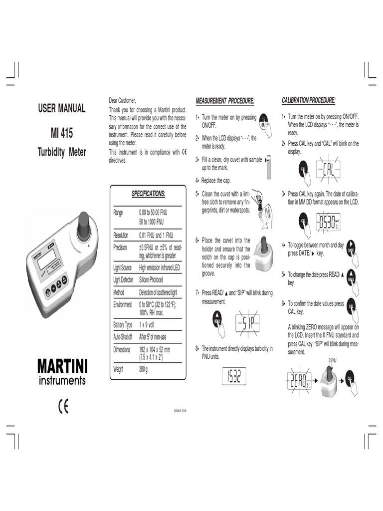 User Manual: Measurement Procedure: Calibration Procedure