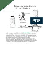Cómo Realizar Ensayo Densidad en El Sitio Con El Cono de Arena
