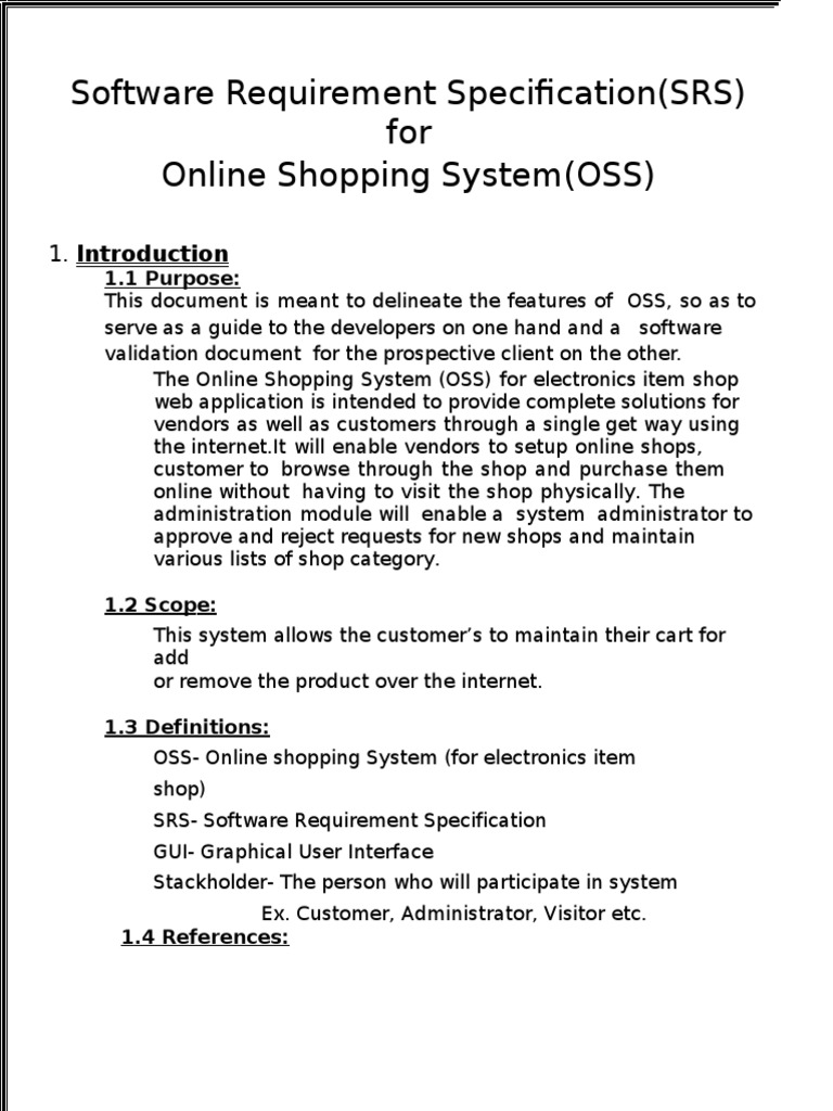 srs document for online shopping system