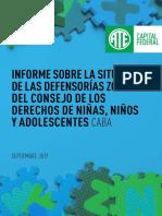 Informe Defensorías Zonales de Derechos de Nin@s CABA - Septiembre 2017