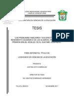 Los Problemas Familiares y Su Impacto en El Rendimiento Académico. Justina Soto Dominguez