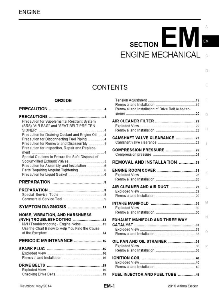 Engine Mecchanical Nissan Altima | Airbag | Piston