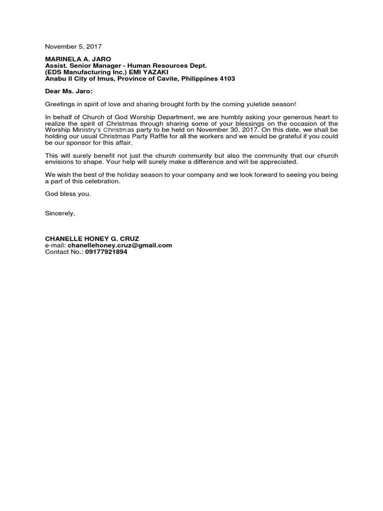 Sponsorship Letter Christmas Party Christmas Religious Festival Or Holiday