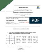 Lista Avaliativa Geo Analitica