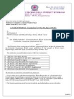 Notification for B Tech Exams II III IV -I Sem Reg Suppl and II III Year s