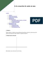 Deducción de La Ecuación de Onda en Una Dimensión