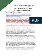 Lista de Movimientos Religiosos Gnosticos y Sectas