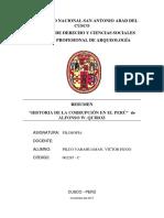 """RESUMEN """"HISTORIA DE LA CORRUPCIÓN EN EL PERÚ""""  de ALFONSO W. QUIROZ"""