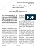 A Review the Potential of Natural Dyes for Dye Sensitized Solar Cells