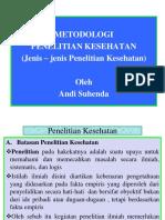 Metodologi Penelitian (Jenis-jenis Penelitian Kesehatan) by Nani