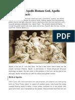 Apollo Facts, Apollo Roman God, Apollo Greek God Facts