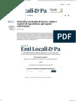 Sicurezza Nei Luoghi Di Lavoro, Online i Registri Di Esposizione Agli Agenti Cancerogeni