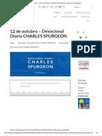 12 de Outubro – Devocional Diário CHARLES SPURGEON • Voltemos Ao Evangelho