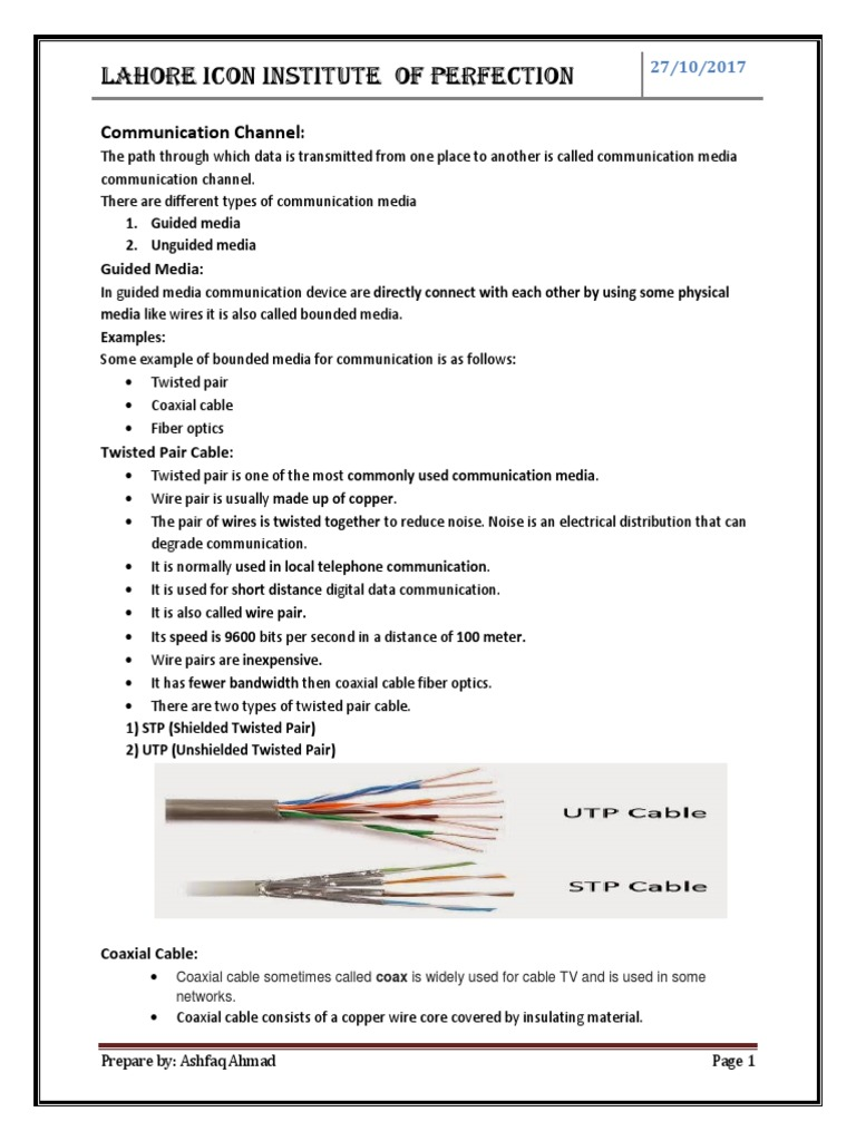 Communication Channel | Transmission Medium | Coaxial Cable