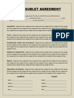 Lease Sublet Agreement
