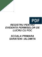 Registru Pentru Evidenta Permiselor de Lucru Cu Foc