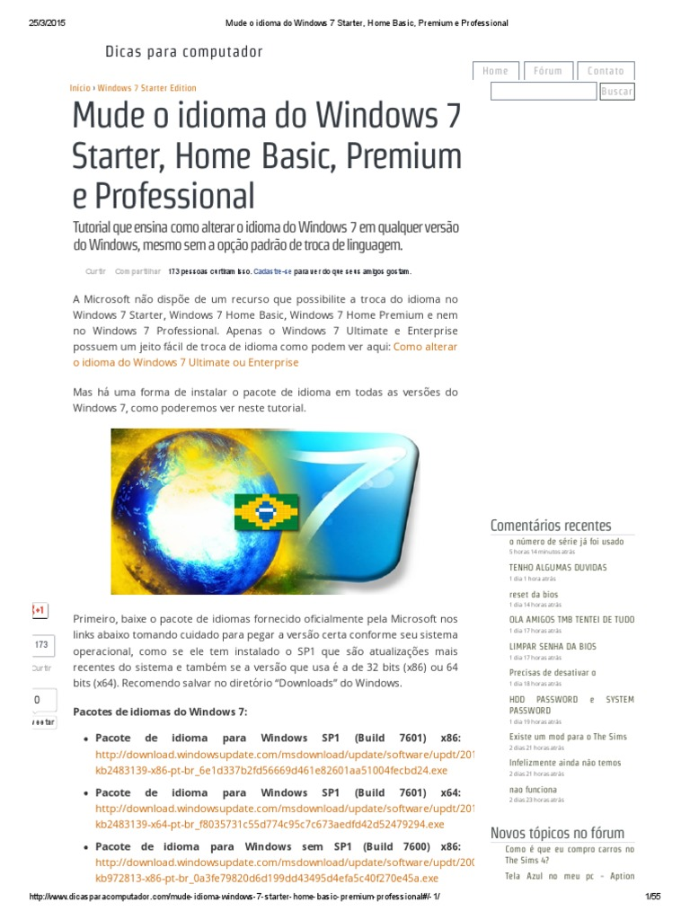 pacote de idiomas windows 7 starter