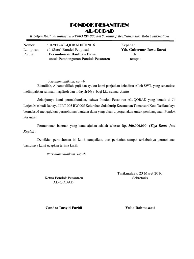 Contoh Surat Permohonan Bantuan Hibah