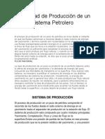 Capacidad de Producción de Un Sistema Petrolero