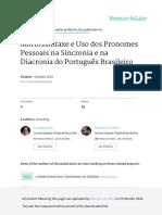 Morfossintaxe e Uso Dos Pronomes Pessoais Na Sincr