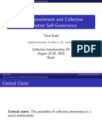 """Presentation """"Joint commitment and collective normative self-governance"""""""