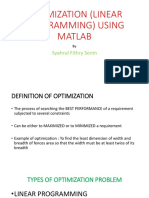 Optimization (Linear Programming) Using Matlab