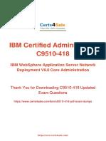 Up-to-date C9510-418 Administrator Exam Dumps (NOV 2017)