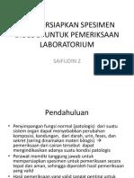 Mempersiapkan Spesimen Biologi Untuk Pemeriksaan Laboratorium